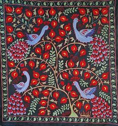 Textile Patterns, Textile Art, Textiles, Contemporary Embroidery, Ikat Fabric, Chain Stitch, Craft Work, Art Forms, Wall Tapestry