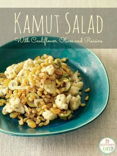 This kamut salad pairs is so delicious with sweet raisins and salty green olives. | Fit Bottomed Eats
