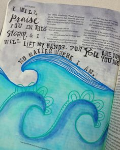 "Acts 27 & 28. Lyrics from ""Praise You in this Storm"" by Casting Crowns. #biblejournaling #biblejournalingcommunity #journalingbible #illustratedfaith #watercolor #bibleart #bibleverses #praise #praiseyouinthisstorm #castingcrowns #waves #lostatsea by catladyproductions"