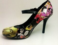 I really want to get a shoe like this! I love that the Gotham City Sirens (Catwoman, Poison Ivy, Harley Quinn) are on this.
