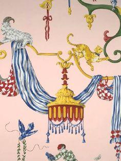 """Scalamandre """"Venetian Carnival"""" in Pink."""