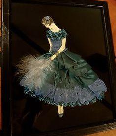 Framed-Ribbon-Art-Deco-Lady-Doll-Girl-Boudoir-Picture