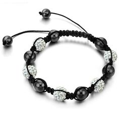 Silver Pave Crystal Beads and Black Pearls Bracelet