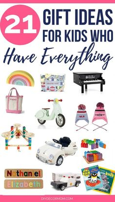 21 gift ideas for kids who have everything! Present ideas for holidays and birthdays that are perfect to get for kids who have everything! These fun gifts are perfect for moms, dads, and grandparents to give toddlers, preschoolers, or babies! Gifts For 3 Year Old Girls, 2 Year Old Gifts, 3 Year Old Boy, Toys For Girls, Gifts For Kids, 2 Year Old Christmas Gifts, Toddler Christmas Gifts, Christmas 2019, Non Toy Gifts