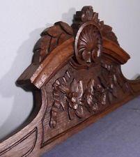 """46"""" French Antique Louis XVI Style Pediment Crown Oak Wood Crest"""