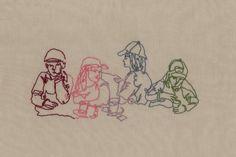 sewn illustration - children behind selling stall