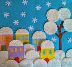 Preschool Art and Science Activities: Art Activities with Makeup Removal Cotton . Kids Crafts, Winter Crafts For Kids, Winter Kids, Projects For Kids, Diy For Kids, Arts And Crafts, Paper Crafts, Kindergarten Crafts, Preschool Crafts