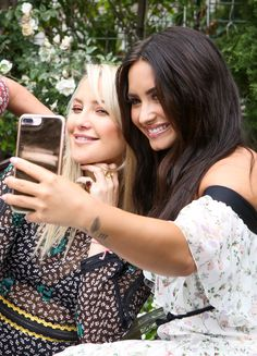 Kate Hudson and Demi Lovato at the exclusive launch party for the Demi Lovato for Fabletics athleticwear line.