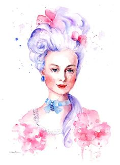 Items similar to Watercolor Portrait - Marie Antoinette - Rococo Romantic on Etsy Watercolor Portrait Painting, Portrait Art, Watercolor Paper, Emma Stone, Rococo Painting, Golden Wallpaper, Fashion Illustration Sketches, Labor, Fantastic Art
