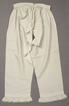 Pantalets,  1830s Culture: American Medium: linen Dimensions: Length at Side Seam: 33 in. (83.8 cm)