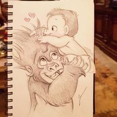"I can hear him saying ""ok.he's your baby"" - - Drawings ♥ - Art Sketches Disney Character Drawings, Cute Disney Drawings, Drawing Cartoon Characters, Disney Sketches, Cartoon Drawings, Animal Drawings, Drawing Disney, Disney Kunst, Arte Disney"