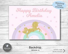 Unicorn Poster Unicorn Backdrop Purple Pink Mint gold rainbow