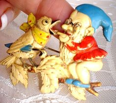 CUTE VINTAGE GNOME HANDPAINTED CELLULOID BROOCH.C 1920's. | eBay $99.99