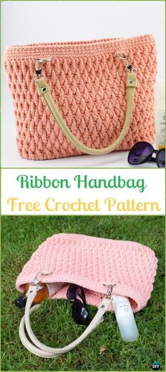 Crochet Ribbon Handbag with Strap Free Pattern - Crochet Handbag Free Patterns Instructions