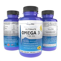 Omega 3 Fish Oil Pills, STRONGEST EPA DHA Omega 3 Supplements 180 Ultimate Burpless Fish Oil Pills, NO Fishy Aftertaste, Support Joint Pain, Inflammation ★2500mg ★860 DHA ★650 EPA