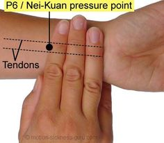 Relieve nausea with acupressure (P6 pressure point) Once you found the P6 points, apply firm downward pressure with your thumb or finger tips for around 30 seconds at a time. At no time should this pressure feel painful! Tapping the P6 point can also be very effective, using a pen or similar object.