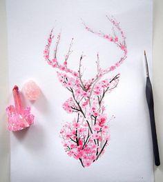 I Watercolor Cherry Blossom Animals (Bored Panda) Nature inspires a lot of my artwork and it has res Tattoo Diy, Tatoo Art, Body Art Tattoos, Tatoos, Tattoo Ideas, Tree Tattoos, Ink Tattoos, Hart Tattoo, Hirsch Tattoo