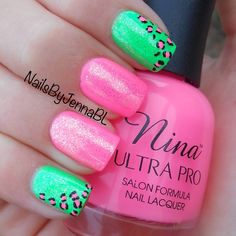 Pink and green cheetah nails...CUTE!