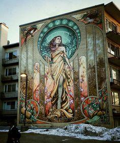 """Quem gosta de Art Nouveau vai curtir o mural """"Notre-Dame-de-Grâce"""" feito no Canadá por artistas da A'Shop Crew. Para o graffiti, foram usadas 500 latas de spray e 50 cores diferentes. A imagem é inspirada na tela """"Our Lady of Grace"""" do famoso Alphonse Mucha. Via."""