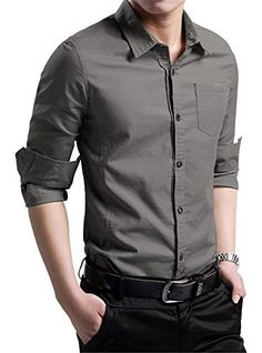 XTAPAN Men's Casual Slim Fit Shirt Cotton Long Sleeve Button Down ...
