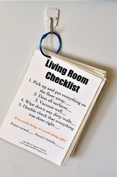 I love this idea - she has a checklist for different rooms.  I am going to print these and give a checklist to each kid to do for the whole week.