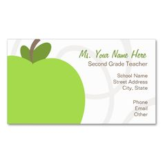 Sample substitute teacher business card teacher business cards teacher business card oversized green apple cheaphphosting Gallery
