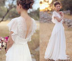 2016 White Ivory Chiffon Beach Bridal Gown Wedding Dress Custom Size 2 4 6 8 10+