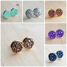 These are 12mm studs, or roughly 1/2 inch in diameter. The necklaces measure 18 in length, while the bracelet measures 7. You can choose the stainless steel ear option for hypoallergenic stainless steel earrings. Do NOT expose your earrings to water or cleaning products. Do not wear them in the