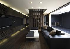 courtyard house   dark interior design http://www.kawazoe.biz/