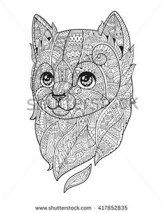 Zen art cat. Hand-drawn fluffy cat portrait in zentangle style for adult coloring page. Zen doodle. Vector illustration on a white background.