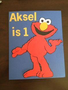 Elmo first birthday card Aksel is 1
