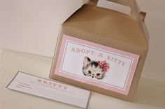 Set 17 kraft gable boxes with Kitty adoption labels and certificate- vintage kitten ca