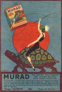 1920s vintage TURTLE Tortoise Sun ART Nouveau Whip Woman Tobacco Advertising Poster Fine ART Print via Etsy