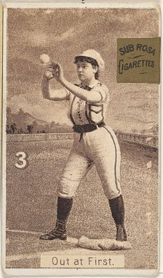 "Card 3, Out at First, from the series ""Women Baseball Players"" 1886"