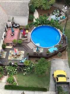 31 Affordable Small Pool Design Ideas For Backyard. The most frequent motive for obtaining a swimming pool is for family fun and leisure. A backyard pool is a Above Ground Pool Landscaping, Above Ground Pool Decks, Backyard Pool Landscaping, Backyard Pool Designs, Small Backyard Pools, In Ground Pools, Backyard Layout, Landscaping Design, Backyard Ideas