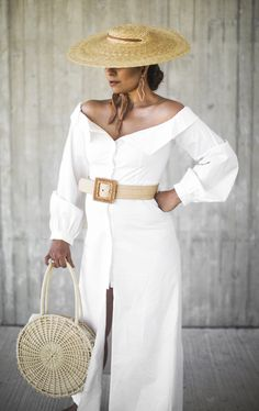 This Style Mafia dress is the perfect peasant dress ticking all the right boxes: off-the-shoulder neckline, puff sleeves, and a button front. Cool Summer Outfits, Summer Hats, Spring Summer Trends, Spring Summer Fashion, Rajputi Dress, All White Outfit, Modest Wear, Street Style Summer, Office Fashion