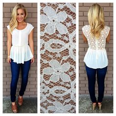 Ivory Back Lace Peplum Top