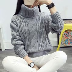 The new Turtleneck Shirt, female thickening twist wind pile collar loose turtleneck sweater female winter Casual Winter Outfits, Winter Fashion Outfits, Autumn Fashion, Warm Sweaters, Sweaters For Women, Baby Sweater Knitting Pattern, Mein Style, Knitted Coat, Girls Fashion Clothes