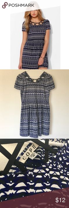 Urban Outfitters Babydoll Dress Cope lattice neck Babydoll Dress in blue multi, from Urban Outfitters. Adjustable tie in back. Urban Outfitters Dresses Midi