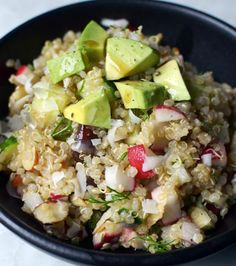 Golden Quinoa Salad with Radish, Dill  Avocado! /#KidOrganic #FruitsandVegetables www.OrganicLearningAdventure.com