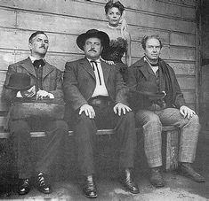 The Gunsmoke radio cast in western costumes ~  Howard McNear (Doc), William Conrad (Marshall Dillon), Parley Baer (Chester), Georgia Ellis (Kitty)