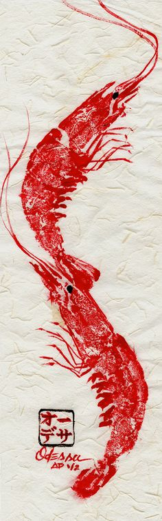 """A http://splashtablet.com Repin: Original Double Shrimp Gyotaku Fish Rubbing on by odessakelley, $20.00 Your iPad nearby? Protect it while making fish prints, or """"Gyotaku"""" Under $42 at splashtablet.com or Amazon. 5-Stars - Collecting up my prior pins here for re-casting on new boards."""