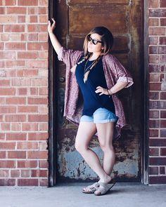 LuLaRoe oversized Patrick tee, Lindsay Burgundy Kimono, Rayban sunglasses, Gap Factory girlfriend Jean shorts, tan Arizona Birkenstock sandals, braided hair