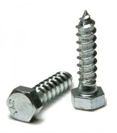 Hex lag bolts are for fastening in wood products. Hex Lag Screws in Zinc Plated Grade 2 Steel. This finish offers a layer of protection to the case hardened fastener. Diameter size in various lengths. Bolts And Washers, Screws And Bolts, Wood Screws, Machinery's Handbook, Lag Bolts, Material For Sale, Fasteners, Silver, Grade 2