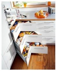 i like the idea of drawers for the corner space in cabinets.