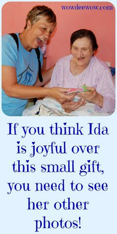 Ida would have been homeless if a kind pastor had not offered her shelter. Her joy over the simplest things reminds me of what's really important. Jesus changes lives!
