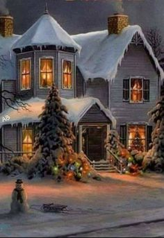 Christmas Scenery, Christmas Light Displays, Cozy Christmas, Country Christmas, All Things Christmas, Christmas Lights, Vintage Christmas Photos, Victorian Christmas, Christmas Pictures