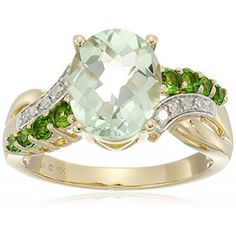 Rings, Amazon Collection, 10k Yellow Gold Green Amethyst, Chrome Diopside and Diamond Ring, Size 7