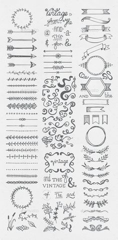 Buy Hand Drawn Vintage Elements Collection by egirldesign-vectors on GraphicRiver. Hand drawn vintage elements collection A set of 111 hand drawn vintage elements – dividers, frames, ribbons, phrases . Bullet Journal Inspo, Bullet Journal Vintage, Borders Bullet Journal, Bullet Journal Headers, Bullet Journal Banner, Bullet Journal Writing, Bullet Journal Aesthetic, Bullet Journal Frames, Bullet Journal Decoration