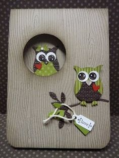 Owl punch from Stampin' Up. My Sandbox: A couple of quickies.to enable myself! Owl Punch Cards, Owl Card, Owl Crafts, Stamping Up Cards, Bird Cards, Animal Cards, Valentine Day Cards, Cute Cards, Creative Cards